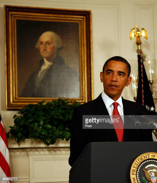 US President Barack Obama announces a phased adaptive approach to US missile defense in Europe during a statement in the Diplomatic Reception Room of...