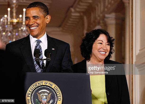 S President Barack Obama announces federal Judge Sonia Sotomayor is his choice to replace retiring Justice David Souter on the Supreme Court during...