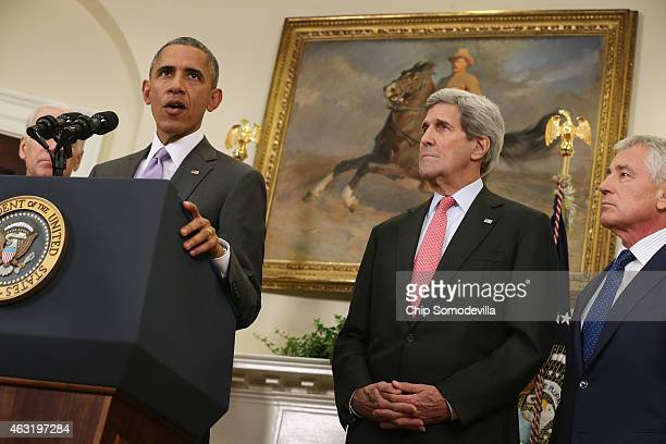 S President Barack Obama announces he has sent Congress an authorization for the use of military force against Islamic State with Vice President Joe...