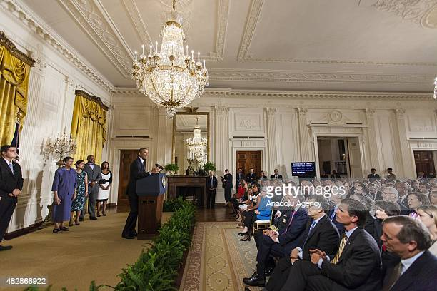 President Barack Obama announces his Clean Power Plan to combat Global Warming at the White House in Washington DC on August 3 2015