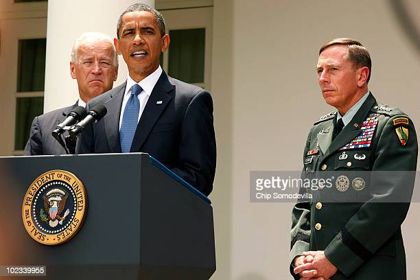 S President Barack Obama announces his decision to put US Army Gen David Petreaus in charge of American and NATO forces in Afghanistan with Vice...