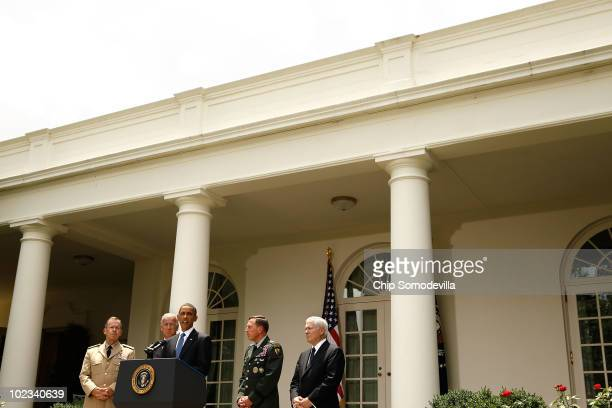 S President Barack Obama announces his decision to put US Army Gen David Petreaus in charge of American and NATO forces in Afghanistan with Chairman...