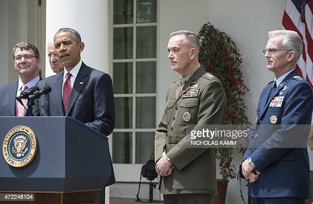 US President Barack Obama announces Marine Gen Joseph Dunford as his pick to be the next chairman of the Joint Chiefs of Staff and Air Force Gen Paul...