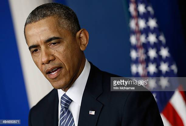 S President Barack Obama announces the resignation of Secretary of Veterans Affairs Eric Shinseki in the briefing room of the White House May 30 2014...