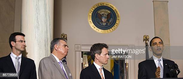 US President Barack Obama announces the terms of the latest auto industry bailout with US Secretary of the Treasury Timothy Geithner Transportation...