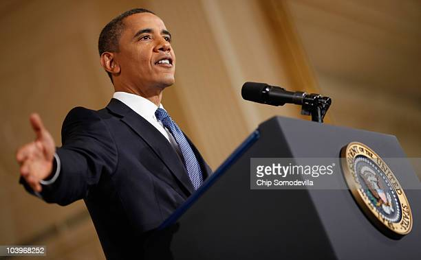 S President Barack Obama answers questions during a news conference in the East Room of the White House September 10 2010 in Washington DC With the...