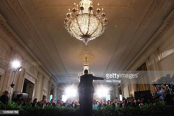 President Barack Obama answers questions during a news conference in the East Room of the White House September 10, 2010 in Washington, DC. With the...