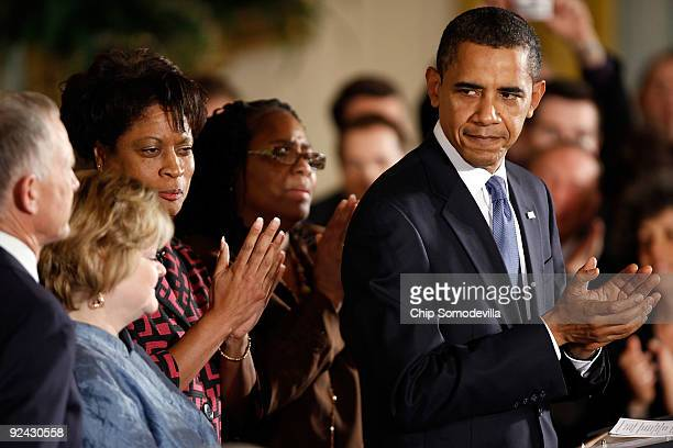 S President Barack Obama applauds after delivering remarks following the enactment of the Matthew Shepard and James Byrd Jr Hate Crimes Prevention...