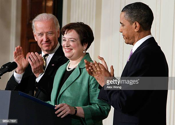 S President Barack Obama applauds with Vice President Joe Biden while introducing Solicitor General Elena Kagan as his choice to be the nation's...
