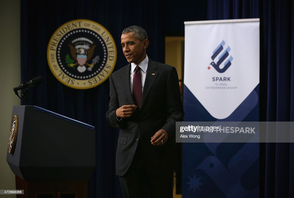 U.S. President Barack Obama approaches the podium to speak at an event to recognize emerging global entrepreneurs May 11, 2015 at the South Court Auditorium of Eisenhower Executive Office Building in Washington, DC. Entrepreneurs from across the U.S. and around the world participated, ahead of President Obamas travel to the Global Entrepreneurship Summit in Kenya this summer, in the event which focused on investing in women and young entrepreneurs.