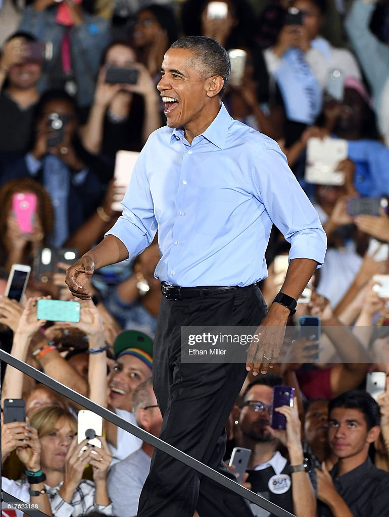 U.S. President Barack Obama arrives at a campaign rally for Democratic presidential nominee Hillary Clinton at Cheyenne High School on October 23, 2016 in North Las Vegas, Nevada. Obama urged Nevadans to vote early one day after a record-breaking start to early voting in the swing state with almost 40,000 people going to the polls ahead of the November 8 general election.