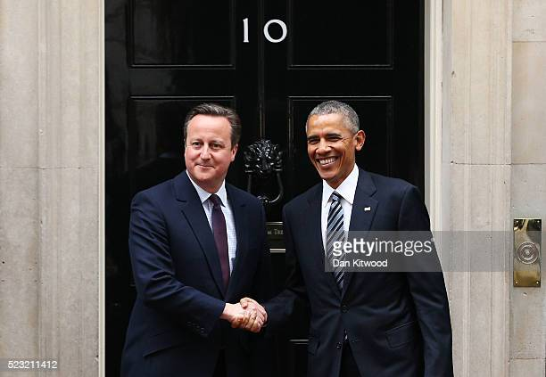 President Barack Obama arrives at Downing Street to meet with British Prime Minister David Cameron on April 22 2016 in London England The President...