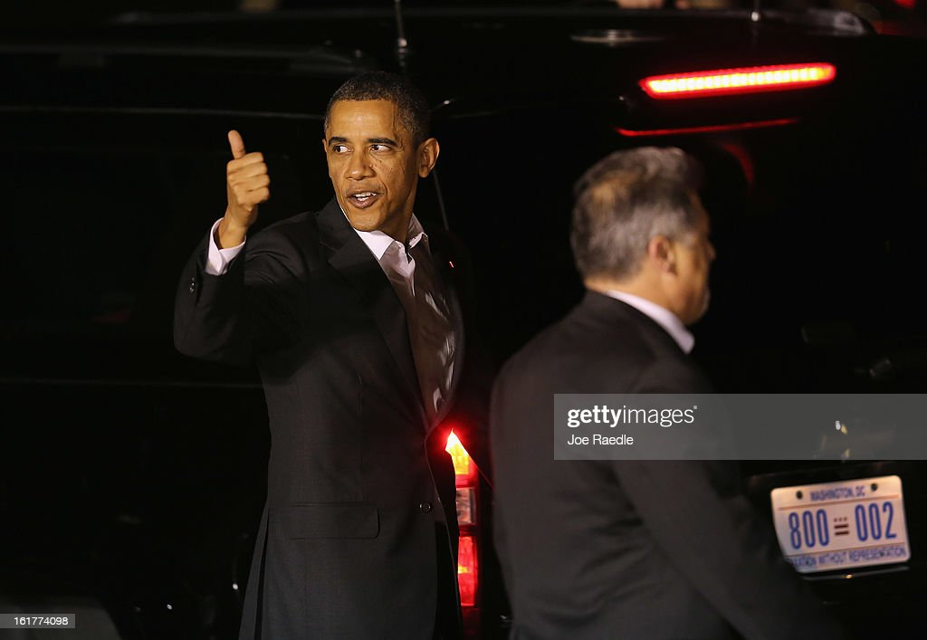 President Barack Obama arrives at Palm Beach International Airport on February 15, 2013 in West Palm Beach, Florida. President Obama plans to spend the Presidents Day holiday weekend in the area.