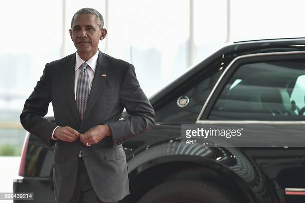 President Barack Obama arrives at the Hangzhou Exhibition Center to participate in the G20 Summit in Hangzhou on September 4, 2016. G20 leaders met...