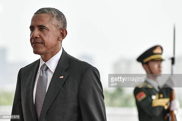 President Barack Obama arrives at the Hangzhou International Expo Center to attend the G20 Summit in Hangzhou on September 4, 2016. World leaders are...