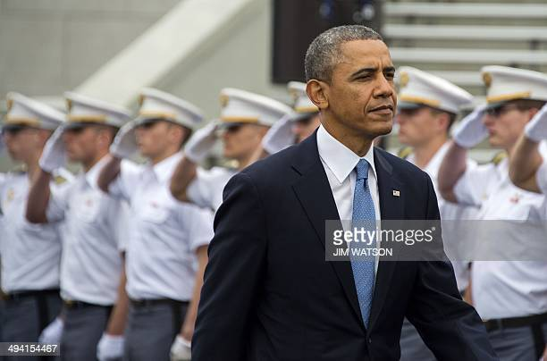 US President Barack Obama arrives at the United States Military Academy at West Point New York to deliver the commencement address to the 2014...