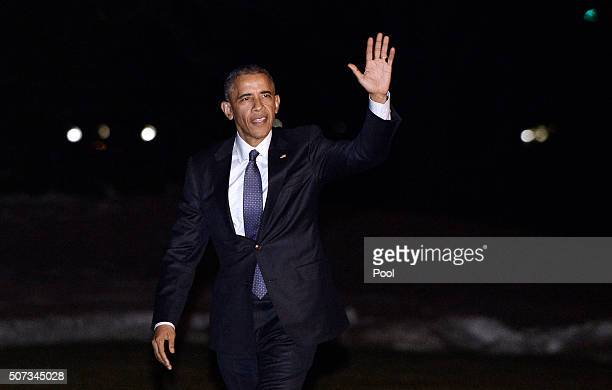 President Barack Obama arrives at the White House January 28, 2016 in Washington, DC. President Obama is traveling to Baltimore, MD to deliver...