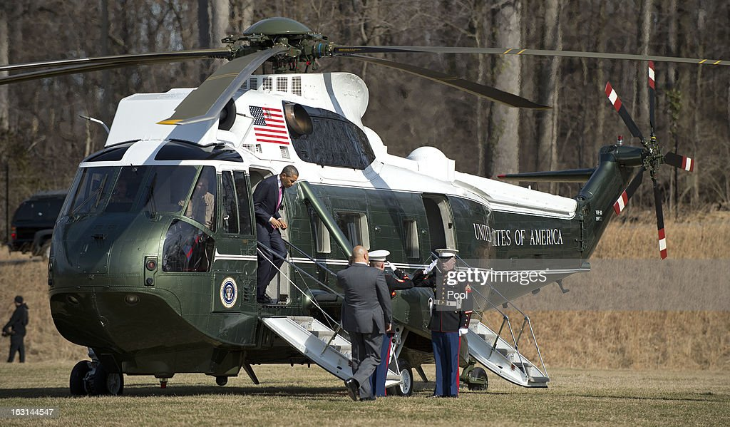 U.S. President Barack Obama arrives by Marine One at Walter Reed National Military Medical Center to visit wounded military personnel on March 5, 2013 in Bethesda, Maryland. Later today Obama and Vice President Biden will meet with newly instated Defense Secretary Chuck Hagel in the Oval Office.