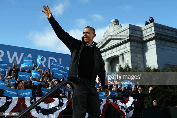 S President Barack Obama arrives for a campaign rally in State Capitol Square November 4 2012 in Concord New Hampshire With only two days left until...