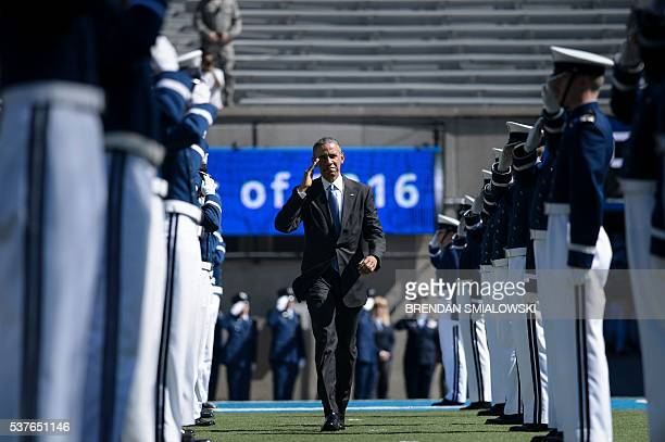 US President Barack Obama arrives for a graduation ceremony at the US Air Force Academy's Falcon Stadium June 2 2016 in Colorado Springs Colorado /...