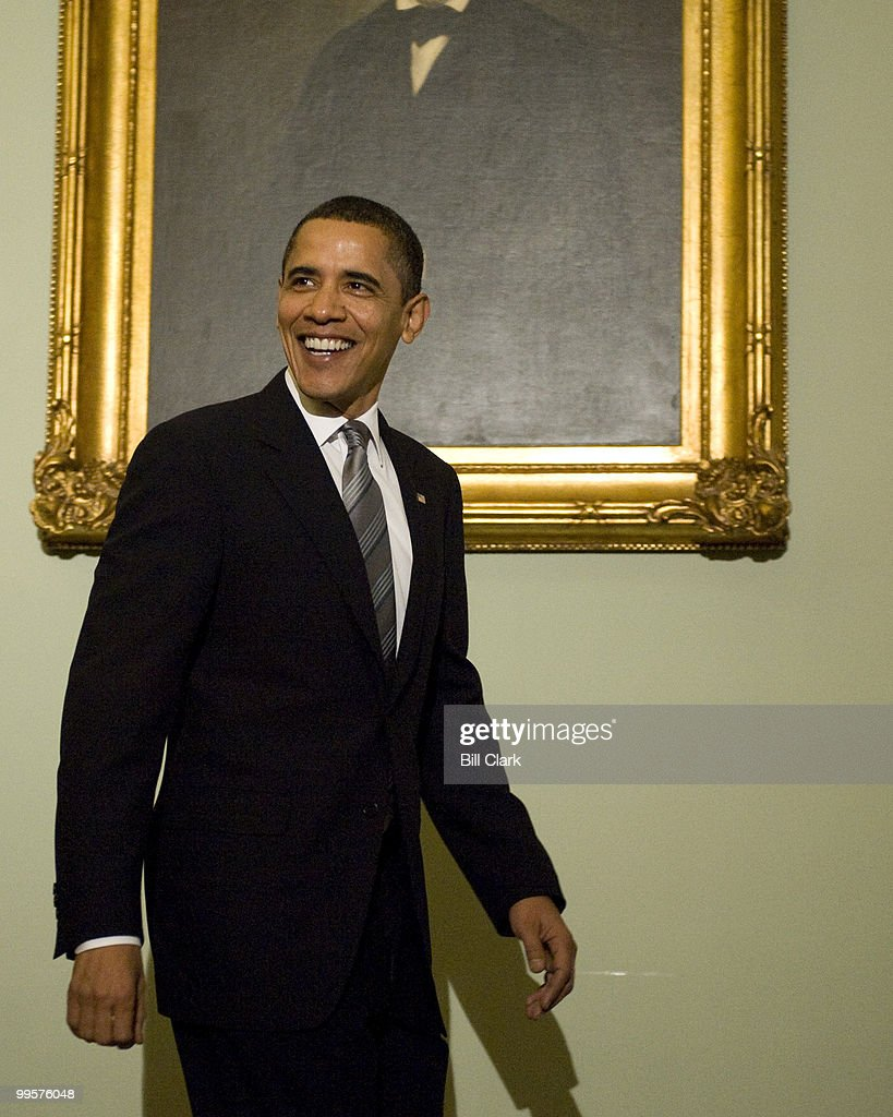 President Barack Obama arrives for a lunch meeting to dicuss the budget with Senate Democrats in the U.S. Capitol on Wednesday, March 25, 2009.