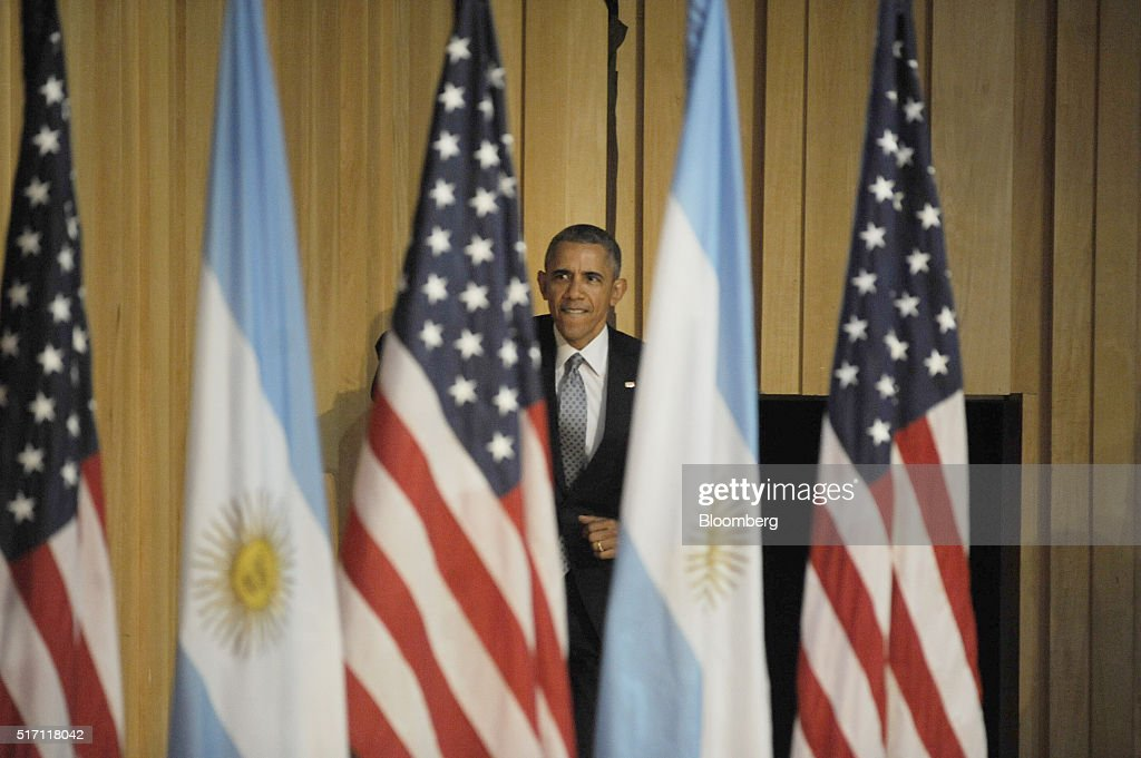 U.S. President Barack Obama arrives for a town hall event at Usina de las Artes in Buenos Aires, Argentina, on Wednesday, March 23, 2016. Obama became the first U.S. president to visit Argentina in more than a decade as his counterpart, Mauricio Macri, seeks a rapprochement with the international community following a decade of financial and diplomatic isolation. Photographer: Diego Levy/Bloomberg via Getty Images