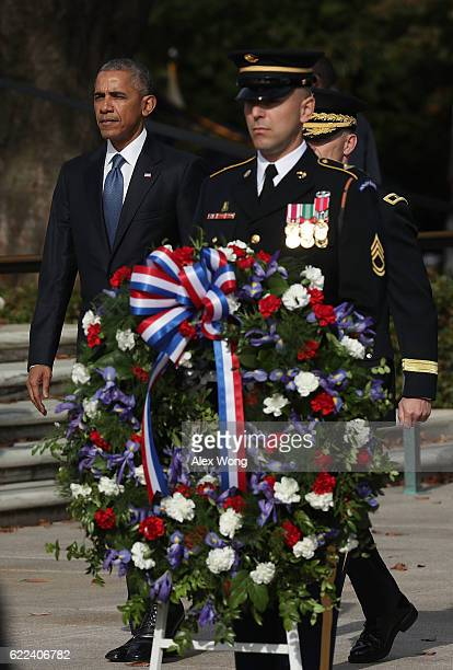 S President Barack Obama arrives for a wreathlaying ceremony at the Tomb of the Unknown Soldier at Arlington National Cemetery on Veterans Day...