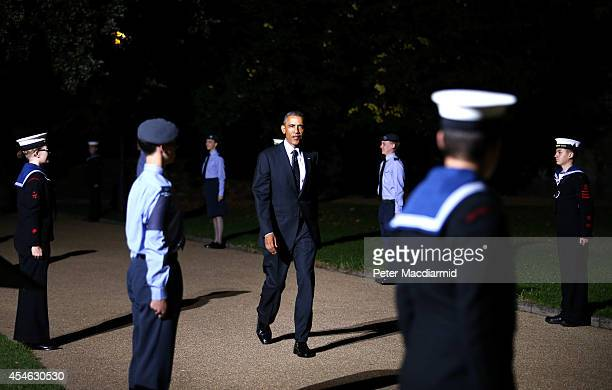 President Barack Obama arrives for the NATO Summit dinner on September 4 2014 in Cardiff Wales Leaders and senior ministers from around 60 countries...