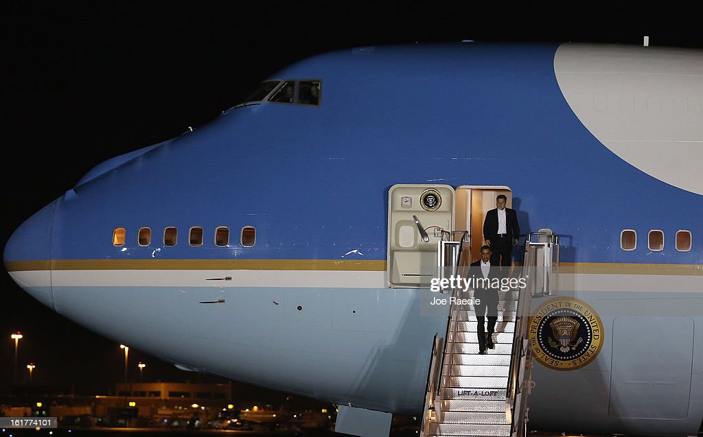 President Barack Obama arrives in Air Force One at Palm Beach International Airport on February 15, 2013 in West Palm Beach, Florida. President Obama plans to spend the Presidents Day holiday weekend in the area.