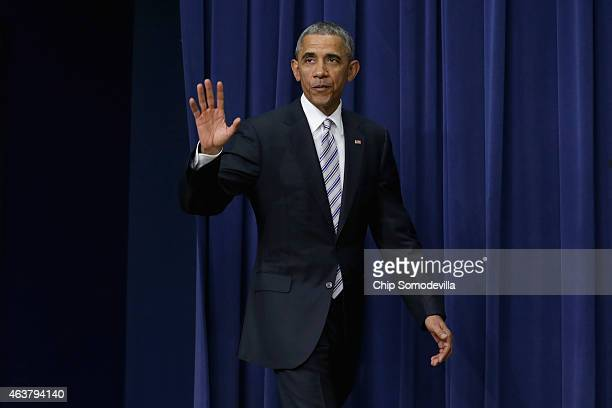 S President Barack Obama arrives to deliver closing remarks at the conclusion of the White House Summit on Countering Violent Extremism in the...