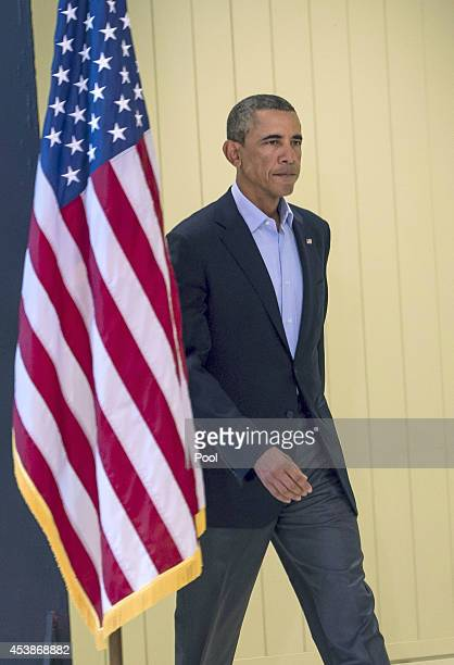 US President Barack Obama arrives to make a statement about the execution of American journalist James Foley by ISIS terrorists in Iraq during a...