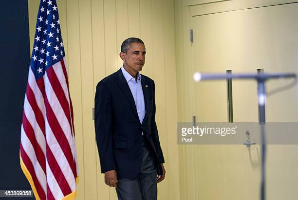 US President Barack Obama arrives to make a statement about the execution of American journalist James Foley by ISIS terrorist in Iraq during a press...