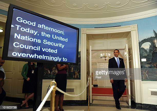 S President Barack Obama arrives to make a statement regarding a United Nations Security Council vote on new sanctions for Iran in the Diplomatic...