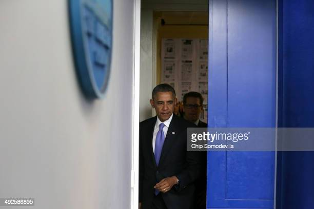 President Barack Obama arrives to make a statement to the news media about the recent problems at the Veterans Affairs Department with White House...