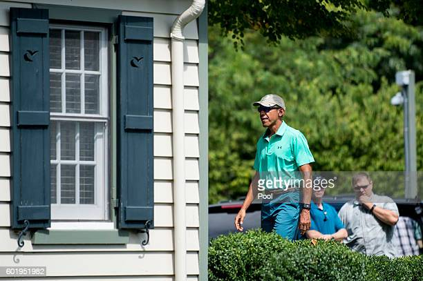 US President Barack Obama arrives to play a round of golf at Caves Valley Golf Club September 10 2016 in Owings Mills Maryland Caves Valley is a...