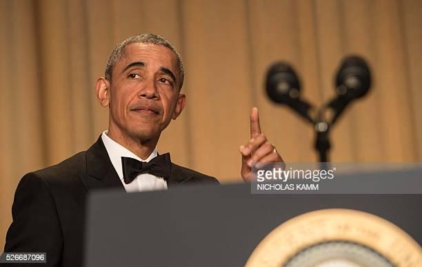 US President Barack Obama arrives to speak at the 102nd White House Correspondents' Association Dinner in Washington DC on April 30 2016 / AFP /...