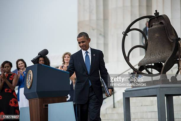 US President Barack Obama arrives to speak at the Lincoln Memorial on the National Mall August 28 2013 in Washington DC Obama and others spoke to...