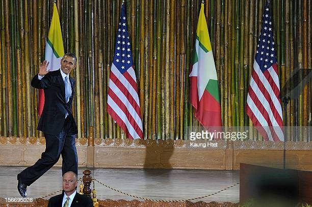 President Barack Obama arrives to speak at the University of Yangon during his historical first visit to the country on November 19 2012 in Yangon...