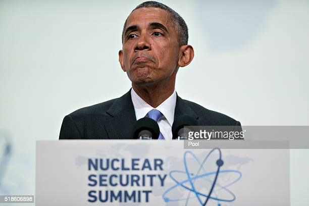 President Barack Obama arrives to speak during a closing session at the Nuclear Security Summit April 1 2016 in Washington DC After a spate of...