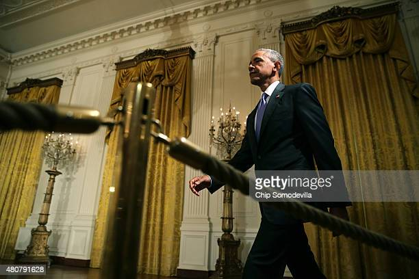 S President Barack Obama arrives to speak during a news conference on the nuclear deal with Iran in the East Room at the White House on July 15 2015...