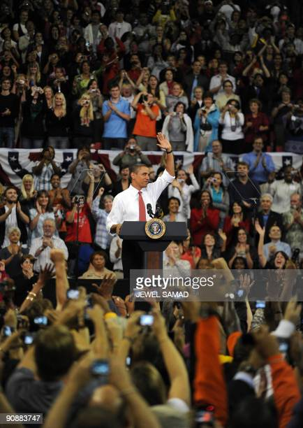 US President Barack Obama arrives to speak during a rally on healthcare at the Comcast Center in College Park Maryland on September 17 2009 Thousands...