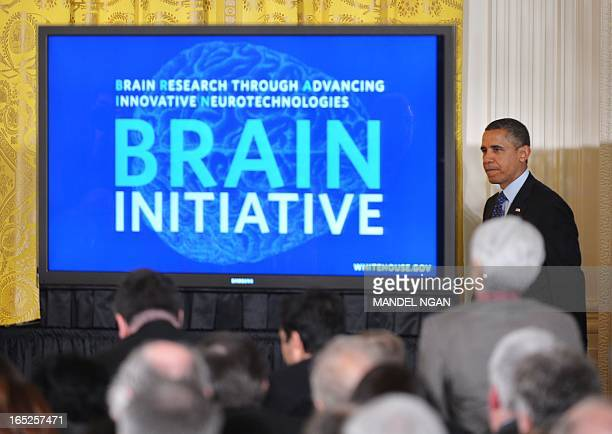 US President Barack Obama arrives to speak on the Brain Research through Advancing Innovative Neurotechnologies Initiative on April 2 2013 in the...