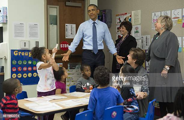 US President Barack Obama arrives to visit a classroom at the Community Children's Center one of the country's oldest Head Start providers in...