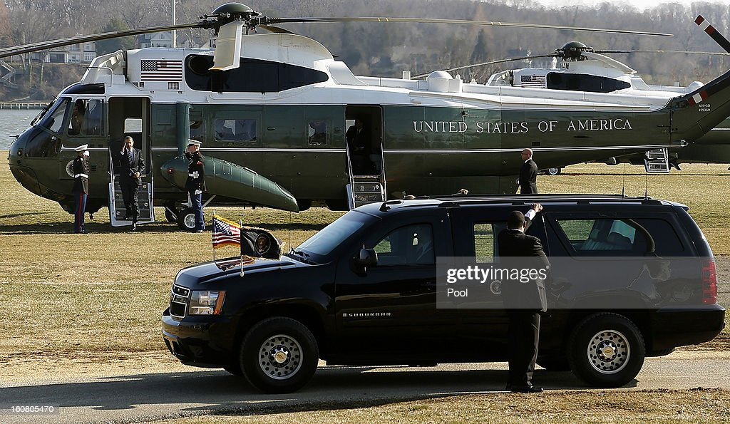 U.S. President Barack Obama arrives via Marine One helicopter at a landing zone at the U.S. Naval Academy February 6, 2013 in Annapolis, Maryland. Obama will attend the Senate Democratic Issues Conference at a nearby hotel.