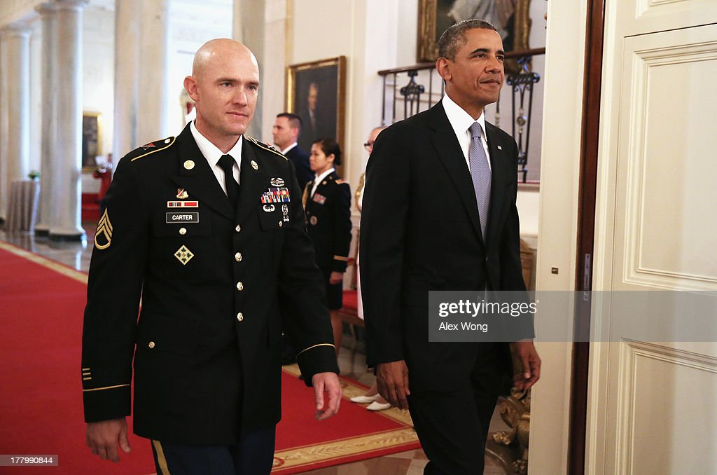 Obama Awards Staff Sgt Ty Carter With Medal Of Honor At White House : News Photo