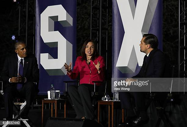 US President Barack Obama atmospheric scientist Katharine Hayhoe and actor Leonardo DiCaprio participate in a conversation during the South by South...
