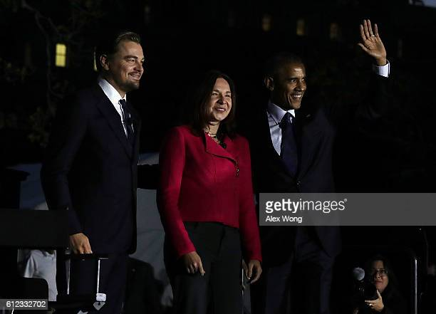 US President Barack Obama atmospheric scientist Katharine Hayhoe and actor Leonardo DiCaprio arrive on the stage to participate in a conversation...