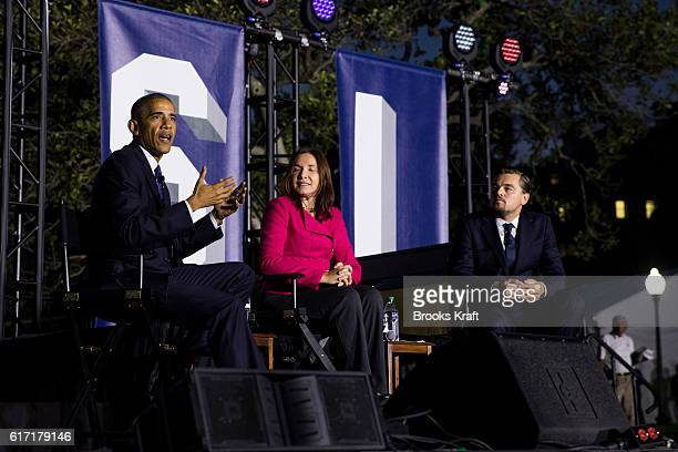 S President Barack Obama atmospheric scientist Katharine Hayhoe and actor Leonardo DiCaprio participate in a conversation during the 'South By South...
