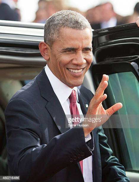 US President Barack Obama attends a Ceremony to Commemorate DDay 70 on Sword Beach during DDay 70 Commemorations on June 6 2014 in Ouistreham France