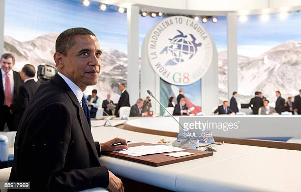 US President Barack Obama attends a meeting with the leaders ofthe Group of Eight during the G8 summit in L'Aquila central Italy on July 9 2009 G8...